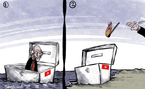 Is Tunisia slipping into a dangerous pitfall?- Cartoon [Sabaaneh/MiddleEastMonitor]