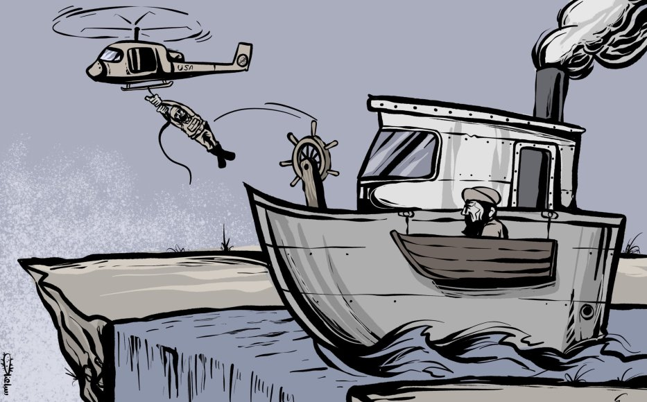 The United States withdraws from Afghanistan, where is it going ... - Caricature [Sabaaneh/MiddleEastMonitor]