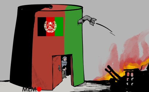 18 million Afghans, half the country, need humanitarian assistance and roughly 3 million are internally displaced - Cartoon [Sabaaneh/MiddleEastMonitor]
