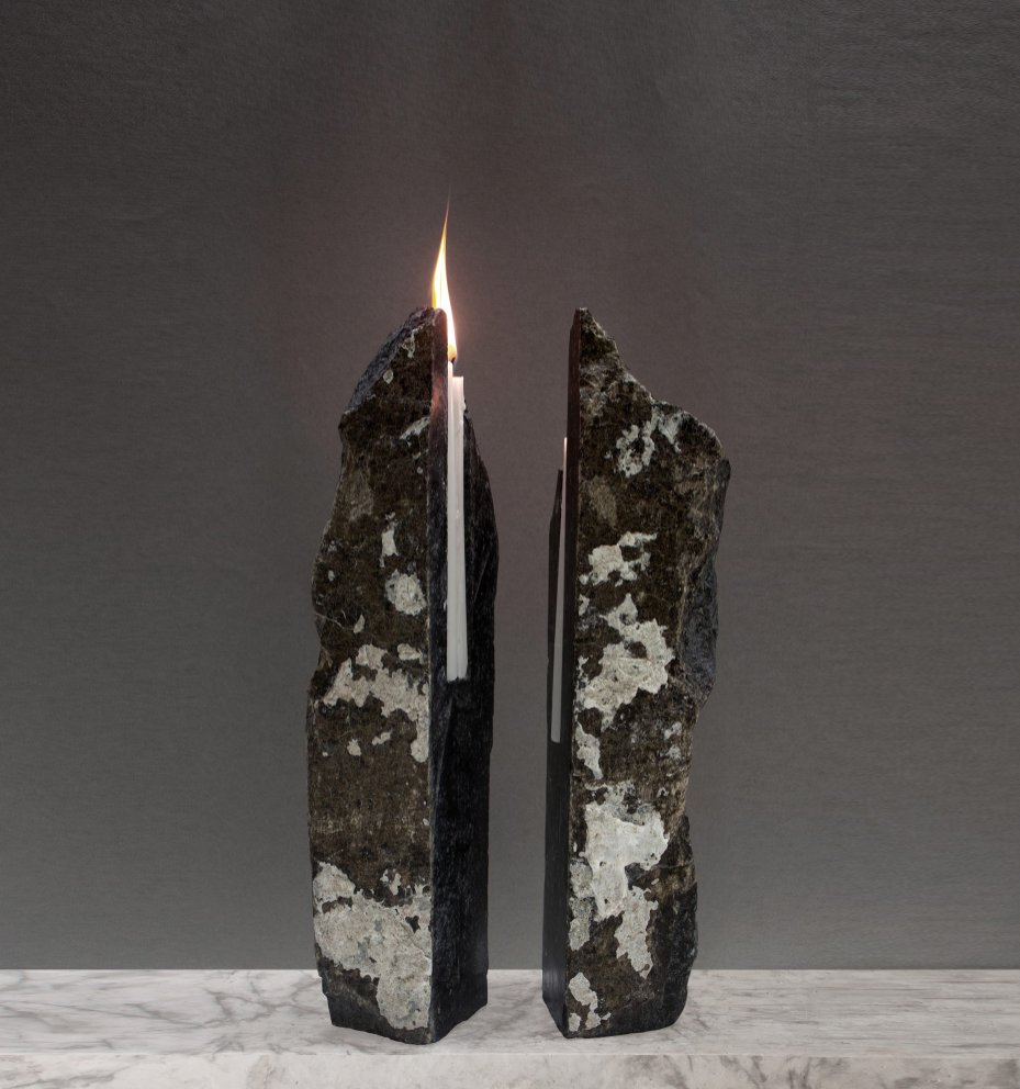 Talin Hazbar, Dislocated Veins, Fujairah rocks, candle wax, 2015. Talin works across architecture, design and art to connect with surrounding landscapes and the intricate materiality of the natural world. With Dislocated Veins, she explores the interior veins and reconstructs the solid, rigid details found in rocks along with temporary instant and fragile layers of candle wax. Photo by Alex Wolfe