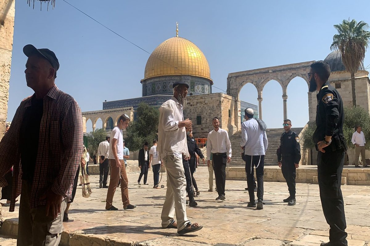 Fanatic Jews accompanied by Israeli police are seen at the courtyard of Al-Aqsa Mosque, in Jerusalem on September 05, 2021 [Jerusalem Islamic Waqf/Anadolu Agency]