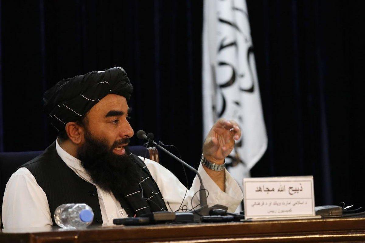 Taliban spokesperson Zabihullah Mujahid holds a press conference in Kabul, Afghanistan on 6 September 2021. [Haroon Sabawoon - Anadolu Agency]