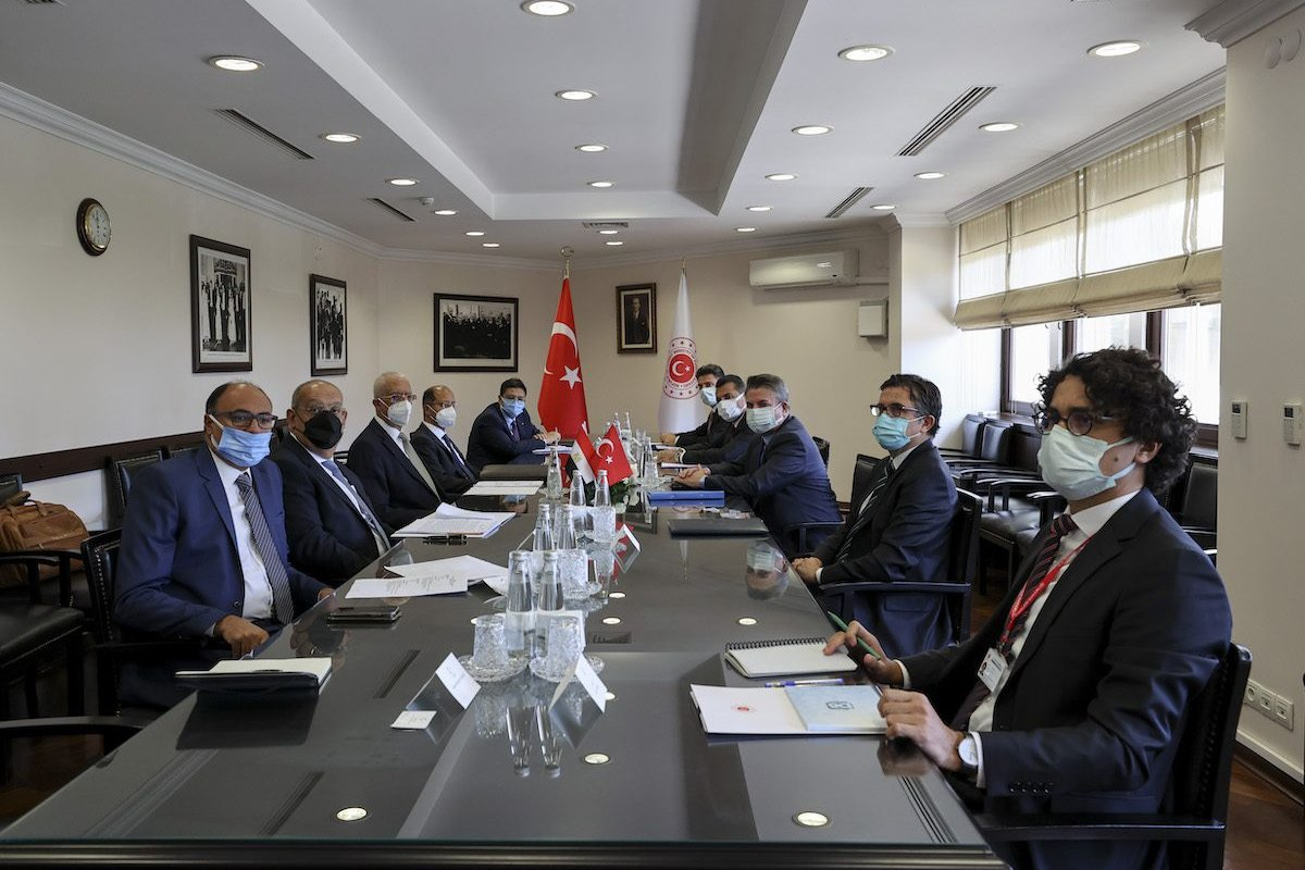 Turkish Deputy Foreign Minister Sedat Onal and Ambassador and Egyptian Deputy Foreign Hamdi Loza hold a meeting within the second round of political consultations between Turkey and Egypt at the Foreign Ministry Building in Ankara, Turkey on 7 September 2021. [Güven Yılmaz - Anadolu Agency]