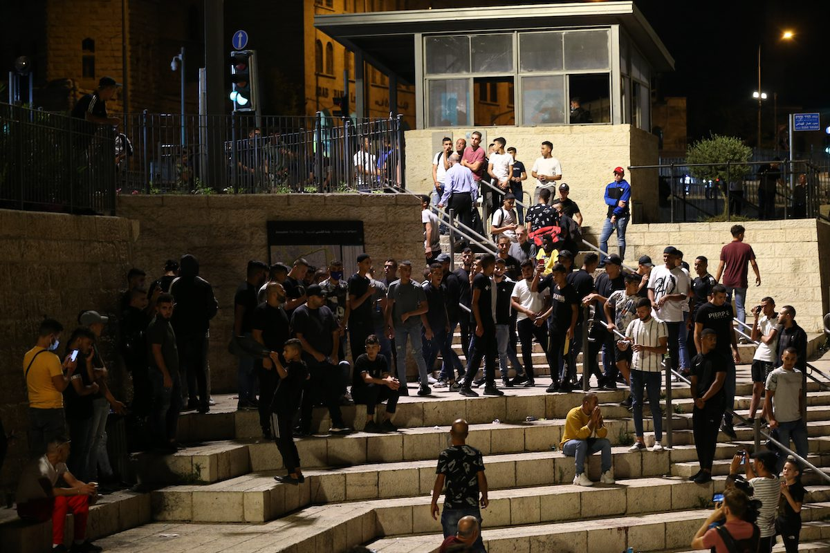 Israeli police clash with Palestinians, who gathered at the Damascus Gate of East Jerusalem's Old City, and held a demonstration to protest Israel's oppression of the detainees in prisons and to support the detainees, on September 08, 2021 in Jerusalem [Mostafa Alkharouf / Anadolu Agency]