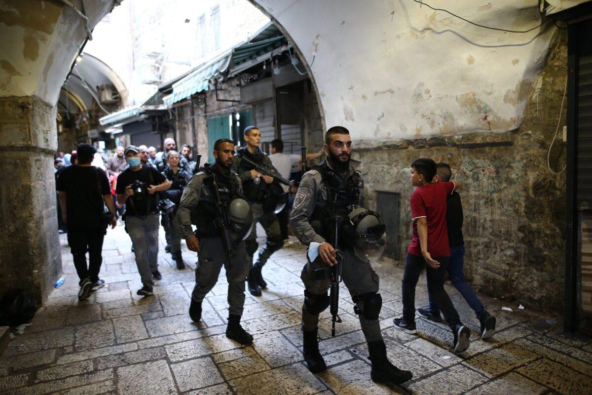 Israeli forces seen after Palestinian doctor Hazem Al-Joulani, 50, was shot by Israeli forces in the East Jerusalem on September 10, 2021 [Mostafa Alkharouf / Anadolu Agency]