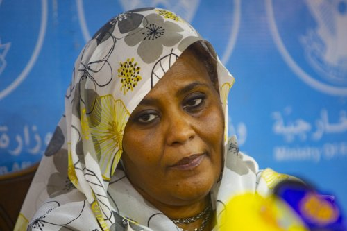 Sudanese Foreign Minister Mariam al-Sadiq al-Mahdi holds a press conference at Foreign Ministry building in Khartoum, Sudan on September 18, 2021 [Mahmoud Hjaj/Anadolu Agency]