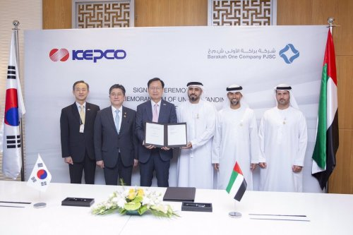 Nasser Al Nasseri, CEO of Barakah One Company and Jong Kap Kim, CEO, and President of KEPCO, on 11 September 2019 [ENEC_UAE/Twitter]
