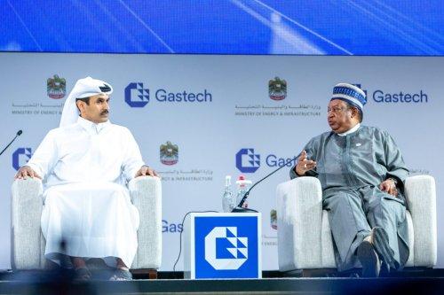 Qatari Energy Minister Saad Bin Sherida Al-Kaabi (L) and Mohammad Barkindo Sanusi, Secretary-General of OPEC (R)[@GastechEvent/Twitter]