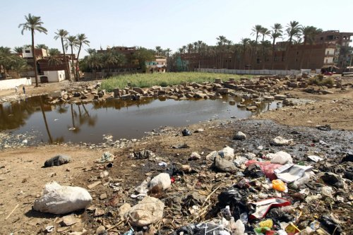 A picture shows the polluted Great Temple of Ptah in the Mit Rahina village (Memphis) near Giza, 35 kms south of Cairo, on October 26, 2010 [KHALED DESOUKI/AFP via Getty Images]