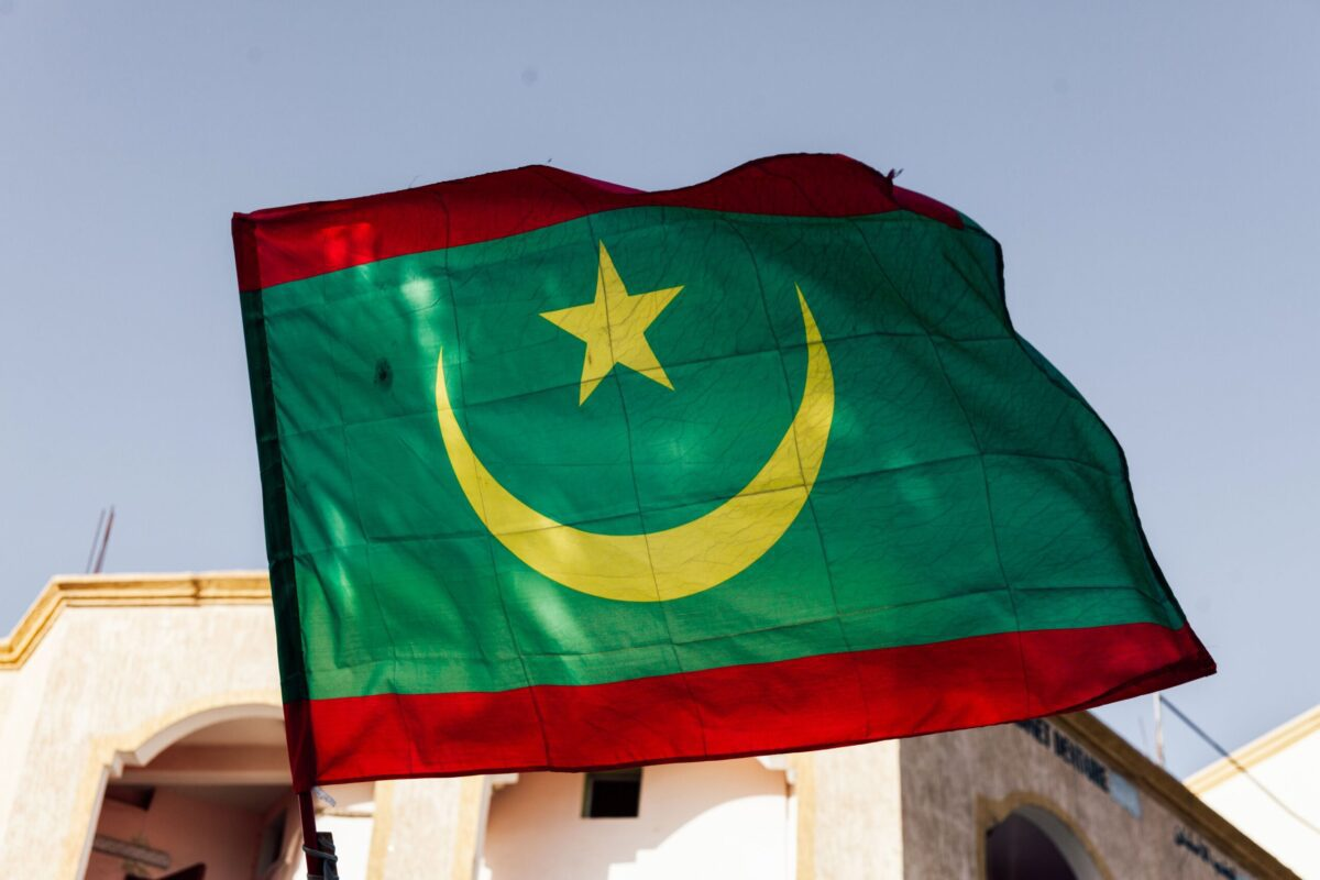 A photo taken on April 2, 2019 in Nouakchott shows a Mauritanian national flag. (Photo by Carmen Abd Ali / AFP) (Photo credit should read CARMEN ABD ALI/AFP via Getty Images)