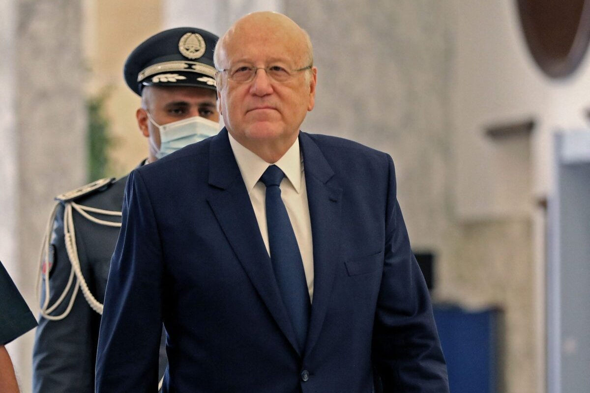 Lebanese Prime Minister-designate Najib Mikati arrives for the first cabinet meeting at the presidential palace in Baabda, east of the capital Beirut, on 13 September 2021. [ANWAR AMRO/AFP via Getty Images]
