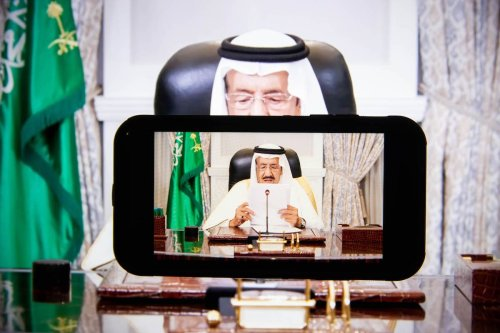 King Salman bin Abdulaziz, Saudi Arabia's king, speaks in a prerecorded video during the United Nations General Assembly via live stream in New York, U.S., on Wednesday, Sept. 22, 2021. [Michael Nagle/Bloomberg via Getty Images]