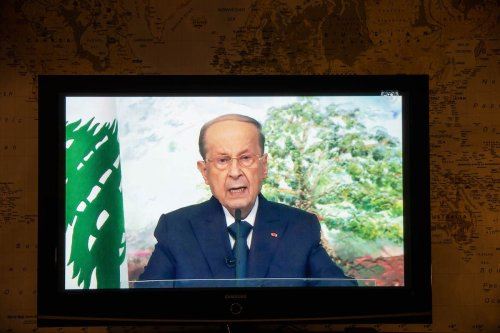 Michel Aoun, Lebanon's president, speaks in a prerecorded video during the United Nations General Assembly via live stream in New York, U.S., on Friday, 24 Sept. 2021. [Michael Nagle/Bloomberg via Getty Images]