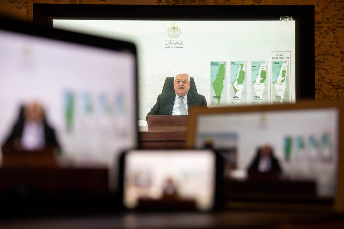 Mahmoud Abbas, Palestinian Authority president, speaks in a prerecorded video during the United Nations General Assembly via live stream in New York, U.S., on Friday, Sept. 24, 2021. A scaled-back United Nations General Assembly returns to Manhattan after going completely virtual last year, but fears about a possible spike in Covid-19 cases are making people in the host city less enthusiastic about the annual diplomatic gathering. Photographer: Michael Nagle/Bloomberg via Getty Images