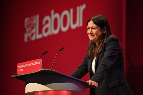 Shadow Foreign secretary Lisa Nandy speaks on stage on the third day of the annual Labour Party conference in Brighton, on the south coast of England on September 27, 2021 [JUSTIN TALLIS/AFP via Getty Images]