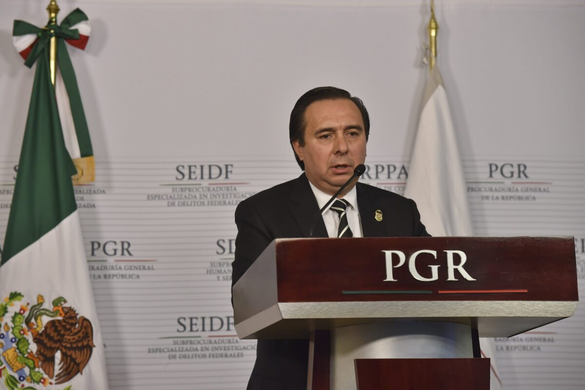 The director of the Federal Bureau of Investigation of the Attorney General's Office (PGR), Tomas Zeron in Mexico City on January 6, 2015 [YURI CORTEZ/AFP via Getty Images]