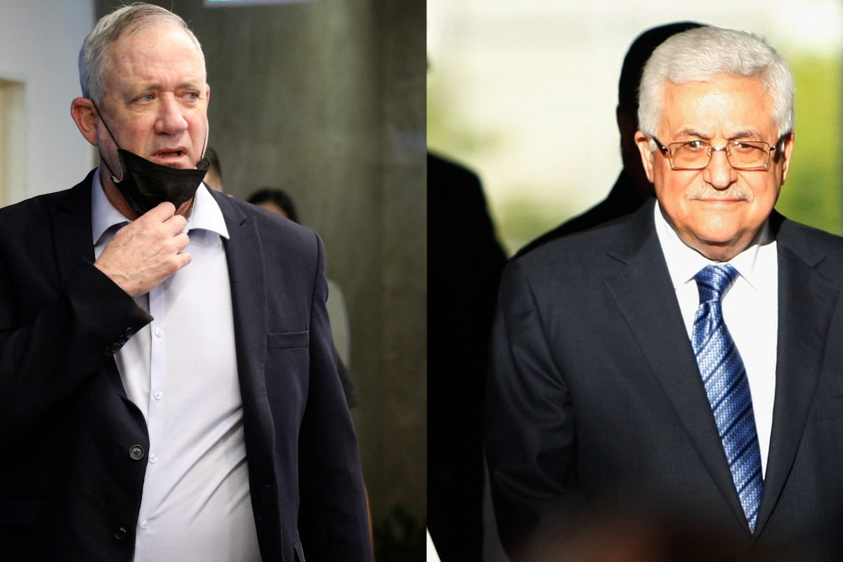 Israeli Defence Minister Benny Gantz (L) and Mahmoud Abbas, President of the Palestinian Authority (R)