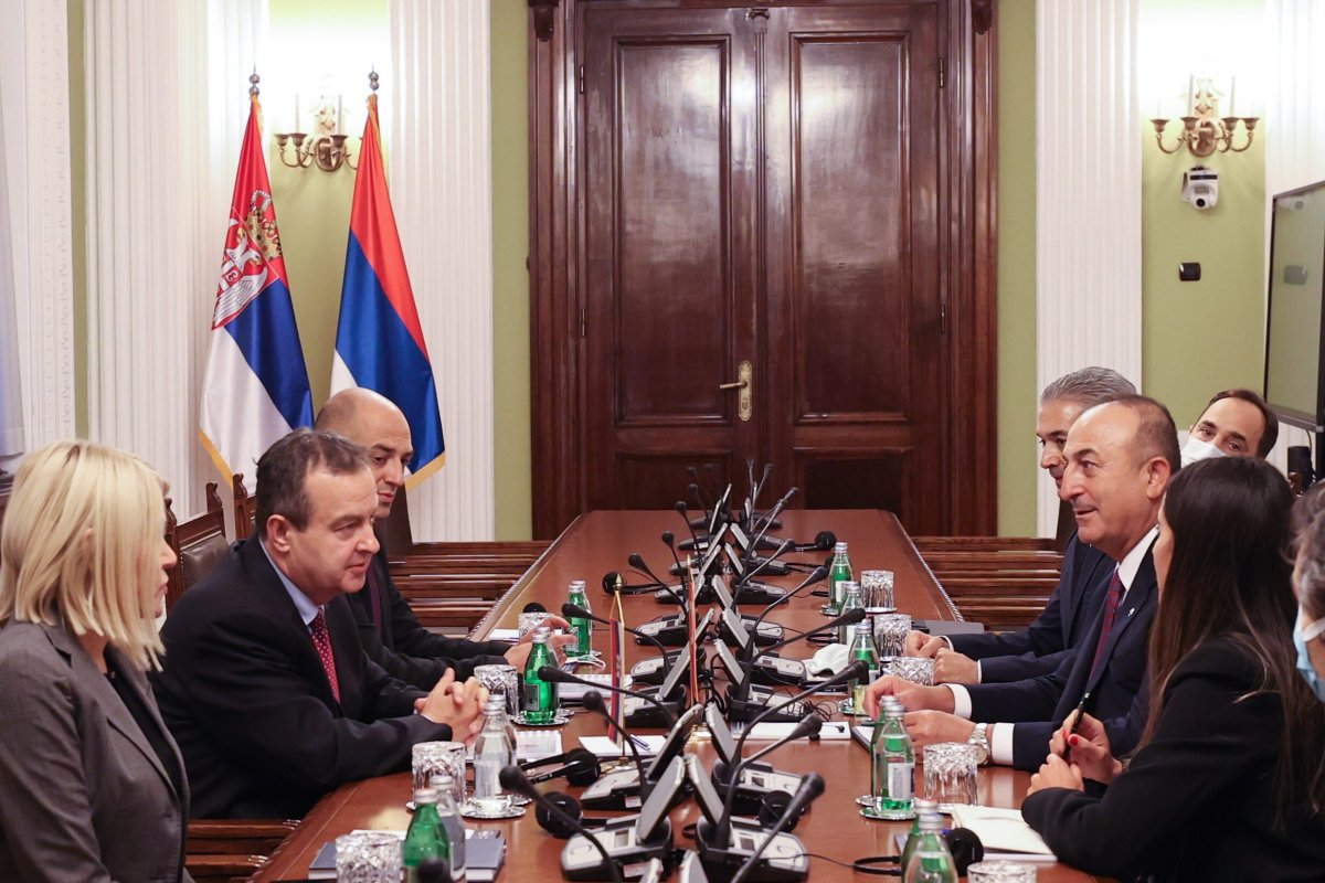 President of the National Assembly of Serbia Ivica Dacic (2nd L) receives Turkish Foreign Minister Mevlut Cavusoglu (2nd R) as he attends the summit held on the 60th anniversary of the establishment of the Non-Aligned Movement in Belgrade, Serbia on October 11, 2021 [Cem Özdel/Anadolu Agency]