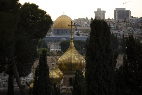 A view of Haram al-Sharif and Church of All Nations from At-Tur (Mount of Olives), during sunset in Jerusalem on 12 October 2021 [Mustafa Alkharouf/Anadolu Agency]