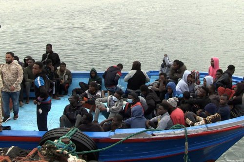 Migrants wait to be returned by Libyan Coast Guard 33 kilometers off the coast of Garabulli, 60 kilometres (40 miles) east of the capital Tripoli on October 19, 2021 [Stringer / Anadolu Agency]