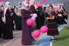 Gaza marks Breast Cancer Awareness Month to raise awareness of the potentially fatal disease , 14 October 2021 [Mohammed Asad/Middle]