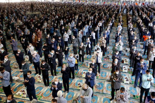 The first Friday Prayer after removing the Covid-19 ban, is being performed at Tehran University campus, on October 22, 2021 in Tehran, Iran [Fatemeh Bahrami /Anadolu Agency]