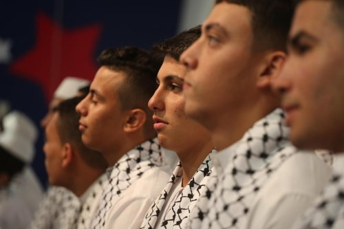 Gaza holds a ceremony to awards those who have become a hafith, students of the Quran who memorise it on 27 October 2021 [Mohammed Asad/Middle East Monitor]