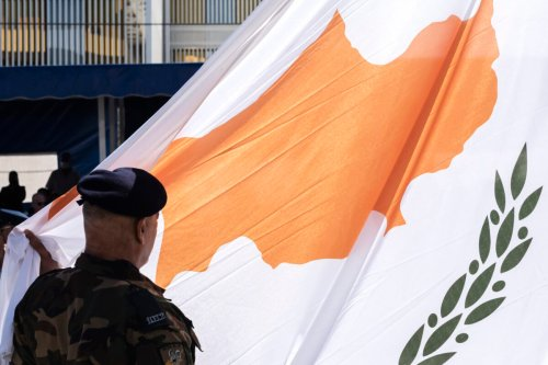 Giant national flag of Cyprus on October 1, 2020 [AKOVOS HATZISTAVROU/AFP via Getty Images]