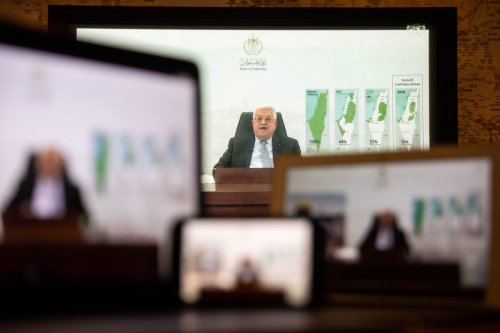 Mahmoud Abbas, Palestinian Authority president, speaks in a prerecorded video during the United Nations General Assembly via live stream in New York, US., on Friday, Sept. 24, 2021 [Michael Nagle/Bloomberg via Getty Images]