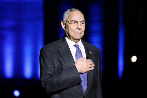 """Late General Colin Powell (Ret.) on stage during the Capital Concerts' """"National Memorial Day Concert"""" in Washington, DC on May 30, 2021 [Paul Morigi/Getty Images for Capital Concerts]"""