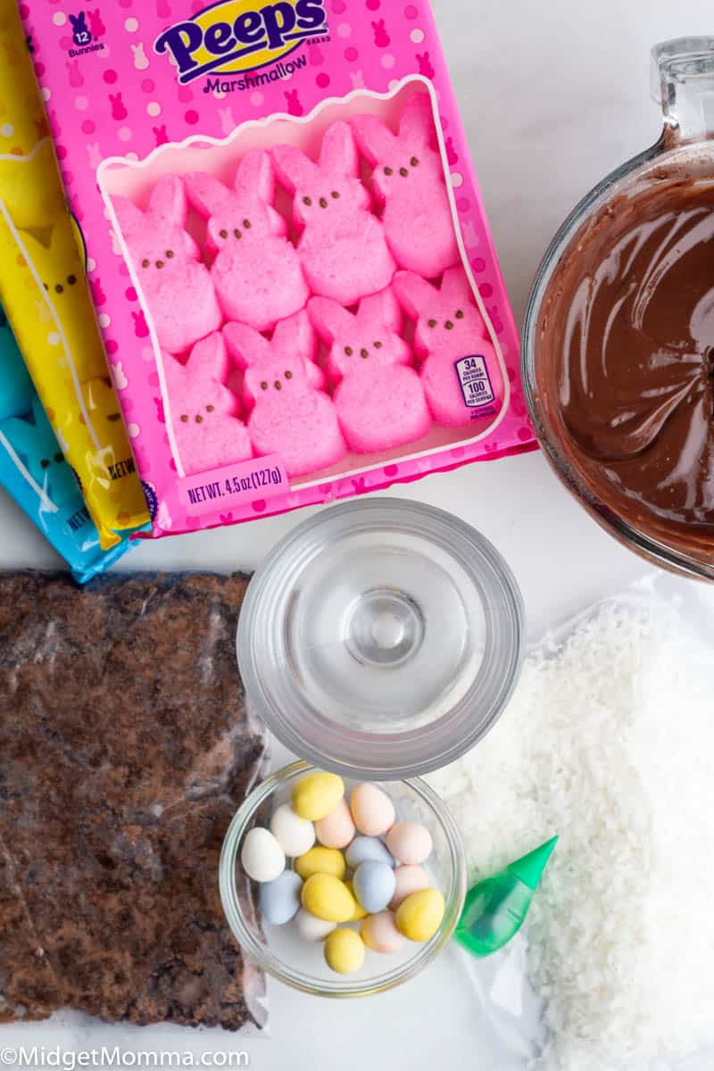 Easter Bunny Dirt Cups Ingredients- Chocolate pudding, Peeps bunnies, chocolate candy eggs, oreo cookies, coconut