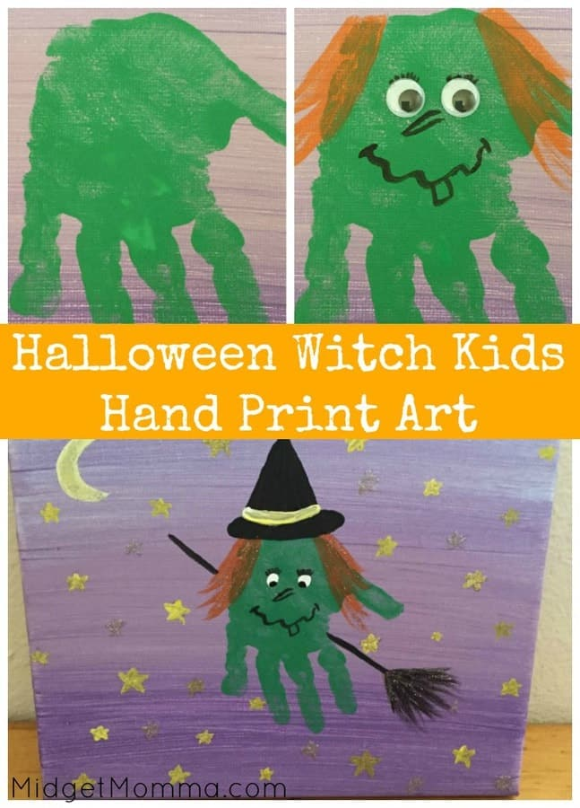 Halloween Witch Kids Hand Print Art Memory Craft