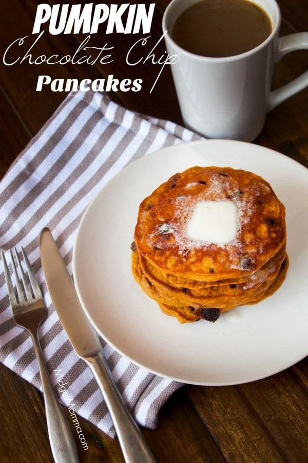 Pumpkin Chocolate Chip Pancakes on a plate with a cup of coffee