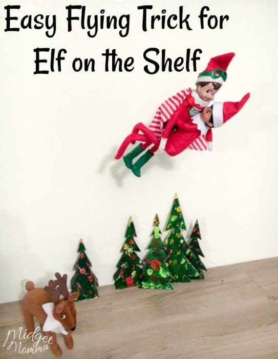 Check out this Elf on the Shelf Flying DIY Trick! Such a great way to add more fun to your Elf on the Shelf holiday traditions with the kids!