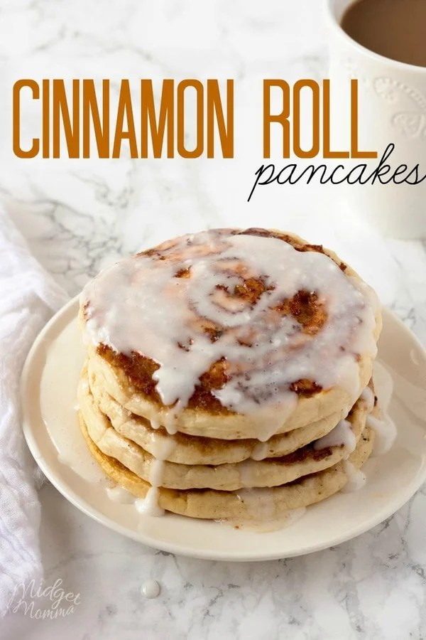Cinnamon Roll Pancakes With Cream Cheese Glaze. AMAZING homemade Cinnamon that taste just like a cinnamon roll, but there is a lot less work! #Pancakes #CinnamonRoll #Cinnamon #Pancakes #Breakfast
