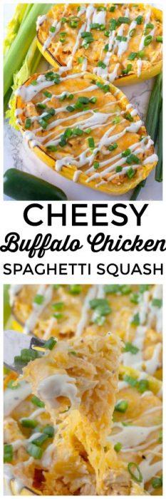 This easy buffalo chicken spaghetti squash is a baked spaghetti squash recipe. This cheesy spaghetti squash recipe with chicken is one the whole family will love. #Chicken #SpaghettiSquash #Baked #Cheese #dinner #Squash #SpaghettiSquashRecipe