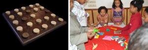 Un échiquier de jeu de GO et en marge du championnat national, des enfants qui ont été initiés à l'ORIGAMI.