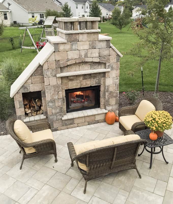 Indian Limestone Fireplace