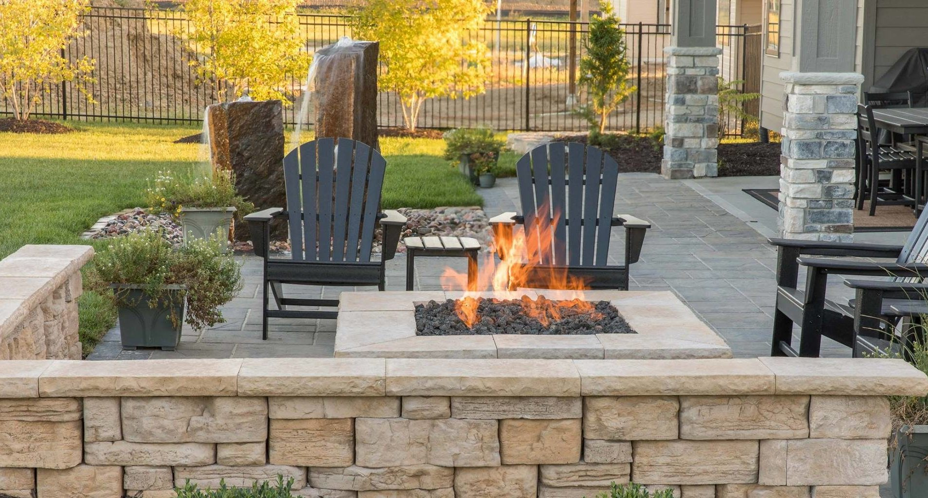 outdoor firepit and wall