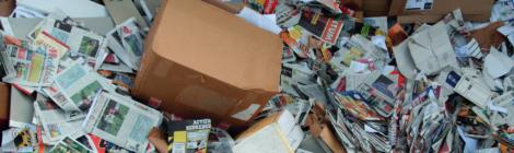 Oudpapiercontainer 4 keer op proef