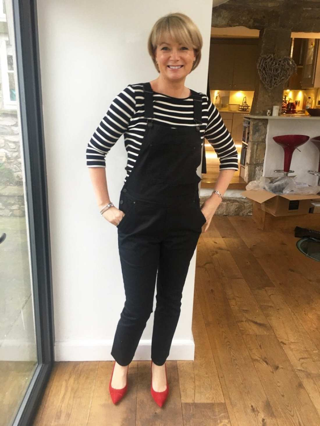 Trying it on - Boden dungarees