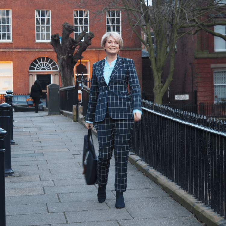 checked trouser suit, business