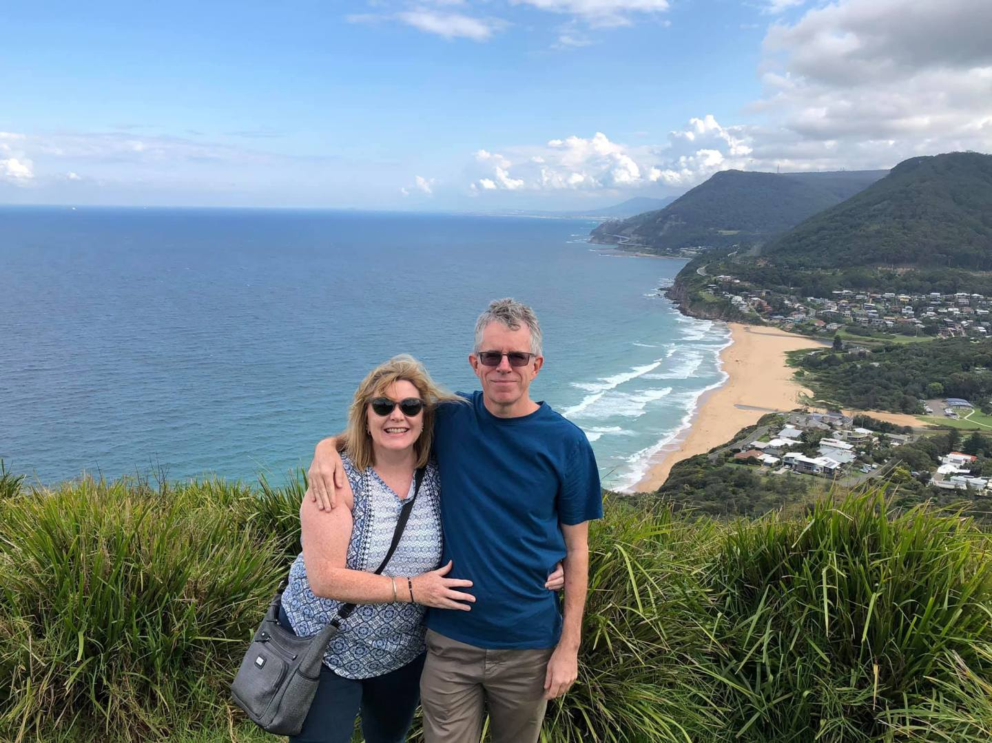 Beautiful sea view with happy couple who have emigrated to Australia