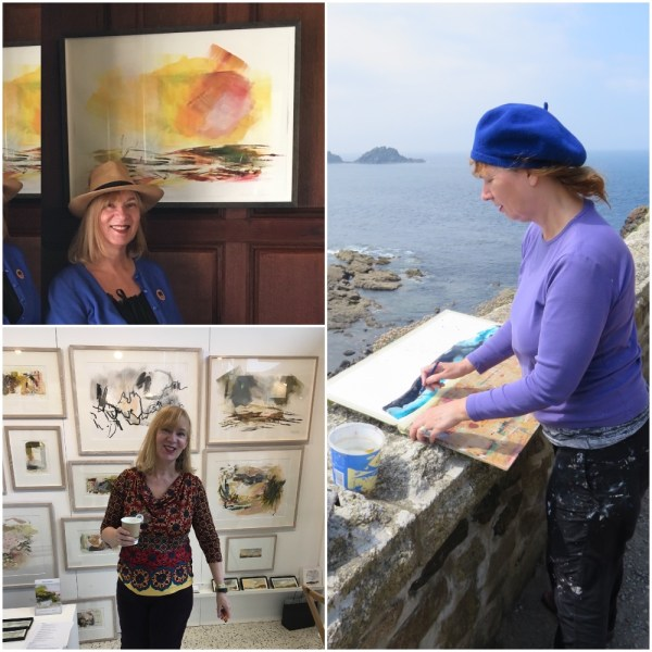 Three images showing Award Winning Artist Lesley Birch at work