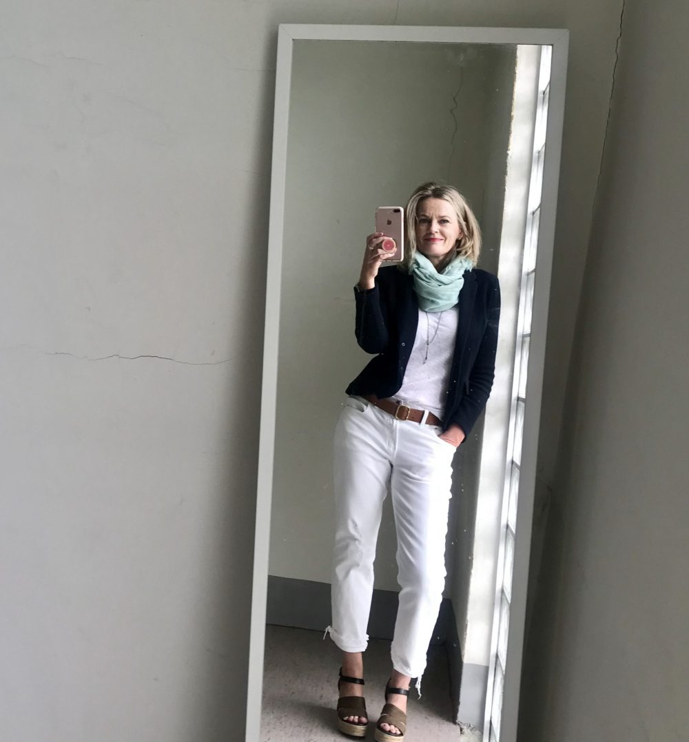 Shopping Your Wardrobe woman in selfie wearing preloved clothes