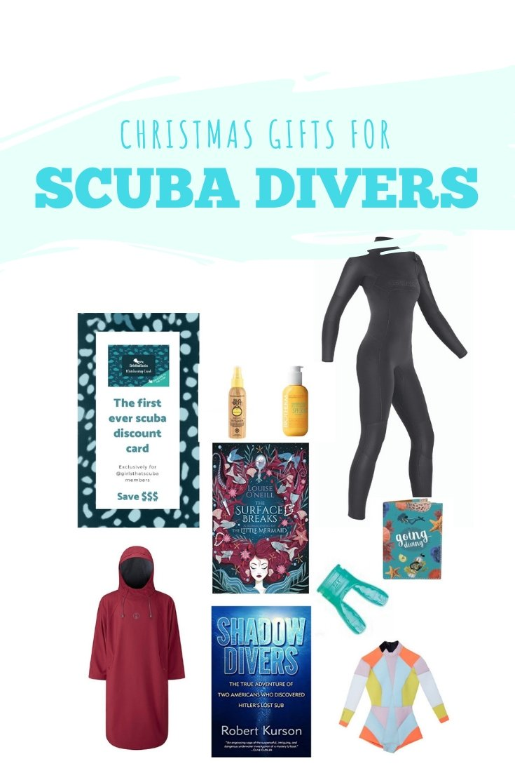 If you are looking for a present for the mermaid in your life I got some ideas for you: great gifts for scuba divers. From cool eco-friendly wetsuits to scuba books find the right scuba gift here. #scubadiving #scuba #scubagifts #christmas #christmasgifts #mermaid #wetsuit