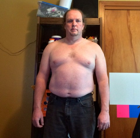 Fat guy transformation (I hope) week 2 of 15 for WHG training. Shirtless, gut hanging out, not flexed.