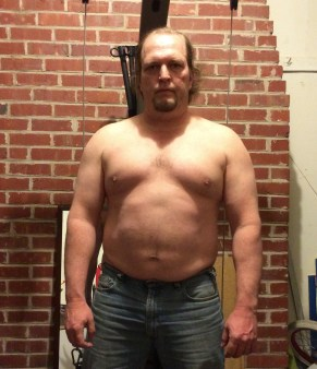 Fat guy transformation (I hope) week 7 of 15 for WHG training. Shirtless, gut hanging out, not flexed.