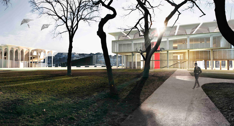 Render of Liget Museum project in Budapest