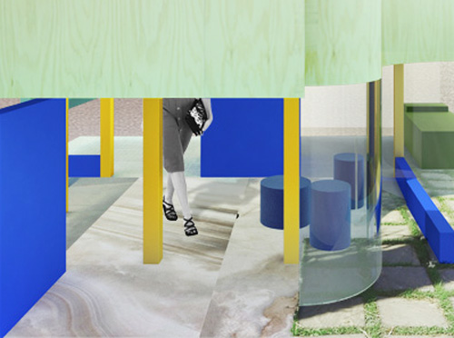 Detail of render for Florim Exhibition Competition in Milan.